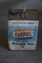 A 1 gallon Ampol oil tin