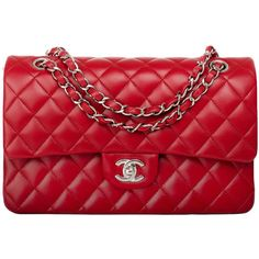 Preowned Chanel Red Quilted Lambskin Medium Classic Double Flap Bag (20.035 BRL) ❤ liked on Polyvore featuring bags, handbags, chanel, purses, bolsas, red, red purse, strap purse, lambskin handbags and red quilted handbag