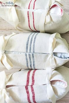 The complete guide to grain sack fabric and grain sack pillows. Includes where to buy, how to launder safely, and how to use grain sack in your decor. Sewing Pillows, Diy Pillows, Custom Pillows, Wash Pillows, Throw Pillows, Linen Pillows, Decorative Pillows, Sewing Hacks, Sewing Tutorials