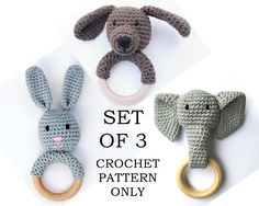 This set includes the Crochet Bunny Teething Ring, Crochet Elephant Teething Ring, and Crochet Puppy Teething Ring patterns. This listing is for the CROCHET PATTERNS ONLY, not the finished product. This set of patterns is available as an INSTANT DOWNLOAD. The pattern is written in standard