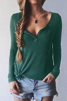 Pure Winter Green V Neck Long Sleeves T-Shirt