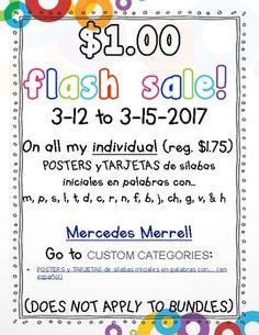 $1.00 Flash Sale on INDIVIDUAL sets of POSTERS y TARJETAS de sílabas iniciales