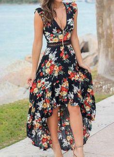 Summer Sexy V-Neck Sleeveless Floral Print Irregular Long Dress