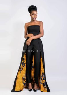 with cape / Bridal shower jumpsuit / Wedding jumpsuit / Ankara jumpsuit / African jumpsuit / African print jumpsuit Jumpsuit with cape / Bridal shower jumpsuit / Wedding jumpsuit African Fashion Designers, African Print Fashion, Africa Fashion, African Prints, African Fabric, African Wear, African Attire, African Dress, African Style
