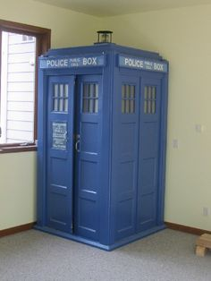Best nerdy-baby idea ever - the TARDIS covering playroom entrance (it's bigger on the inside!).  Anytime the kid comes in or out it can be another time, place, or universe. :)