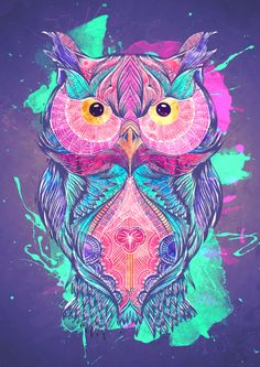 Paintcollar: The wise old owl available on T-Shirt, Hoodies and Tees abstract,Handmade,Nature,Animal,Illustration,colorful,tattoo,vector,Trippy,Jungle,wisdom,Psychedelic,Folk Art,Blue,purple,colours,colors,painting,watercolour,watercolor,digital,artwork,art,design,poster,wallart,cuboidesign,owl