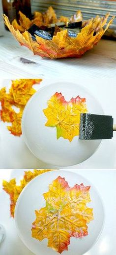 Autumn Leaf Bowls: These Fall leaf bowls capture the essence of the season. Use faux leafs and Mod Podge to create this lovely bowl.  Source: Hello Lucky
