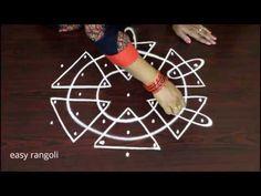 Latest Kolam Designs with 7x4 interlaced dots - Simple indian rangoli designs - New muggulu - YouTube