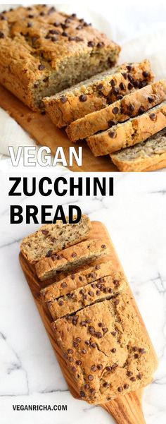 Easy Vegan Zucchini Bread Recipe. Hearty Zucchini Bread with Chia seeds and chocolate chips. Add some walnuts or other nuts for variation. #Vegan #Nutfree #Recipe #veganricha glutenfree option| VeganRicha.com