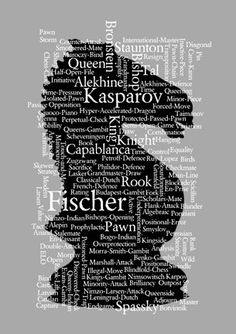 Chess Art Print  Knight Piece with chess words & by DotsandDaisy, £6.99