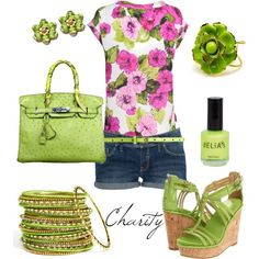 Floral green..summer outfit..shorts..also floral pink