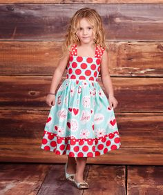 Take a look at this Light Blue & Red 'Love' Knot Dress - Infant, Toddler & Girls on zulily today!