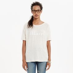 """Madewell 'Blanc' tee New with tags. A boxy, cool sporty style gets a tonal faux-leather appliqué. (Spacing on your high school French? Blanc means """"white"""" en français.)  cotton. True to size. 🚫no trades or paypal 🚫 Madewell Tops"""