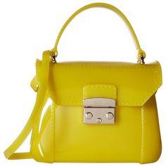 Furla Candy Bon Bon Mini Crossbody (Jade) Cross Body Handbags ($148) ❤ liked on Polyvore featuring bags, handbags, shoulder bags, yellow crossbody, mini purse, mini crossbody handbags, yellow purse and mini cross body purse