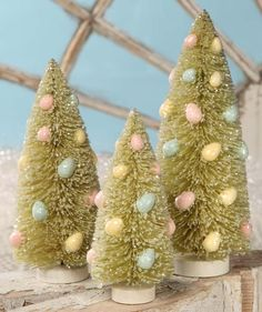 Spring Green Bottle Brush Easter Egg Trees