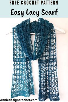 crochet scarves This free pattern for an easy lacy crochet scarf is beginner friendly, and a relaxing crochet project to make. An open lace pattern is used to create this delicate croc Crochet Lacy Scarf, Lace Scarf, Crochet Scarves, Crochet Yarn, Easy Crochet, Free Crochet, Little Presents, Crotchet Patterns, Crochet Accessories