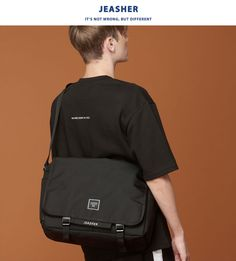[JEASHER]ジェイアッシャー 韓国 黒 ブラック レディース メンズ メッセンジャーバッグ 斜め掛け ショルダーバッグ 通学 通勤 マザーズバッグ(ブラック)