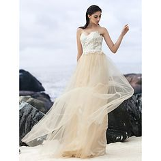 Lanting+Bride®+A-line+Wedding+Dress+Wedding+Dresses+in+Color+Sweep+/+Brush+Train+Sweetheart+Lace+/+Tulle+with+–+EUR+€+78.39