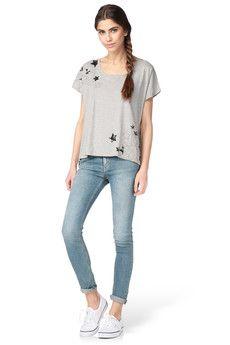 Leon & Harper - Top - T-shirt gris étoiles Ted