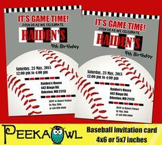 Printable Baseball birthday invitation Baseball by PeekaOwl