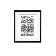 John Legend All Of Me 12X10 Framed Lyrics Print - All of Me, Wedding Anniversary Valentines, Birthday, Picture Gift by NoirBlancRouge on Etsy
