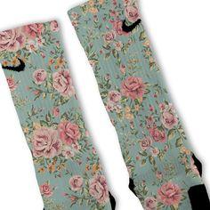 Floral Blue Custom Nike Elite Socks