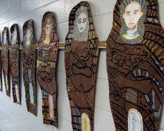 3rd / 4th: Egyptian sarcophagus w/ cartouche on butcher paper (facial proportions, shading, line/pattern, art history)