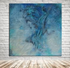 """""""Day and Night - blue square abstract textural painting"""" by Andrada Anghel. Mixed Media painting on Canvas, Subject: Abstract and non-figurative, Abstract style, One of a kind artwork, Signed certificate of authenticity, Size: 91.44 x 91.44 x 3.81 cm (unframed), 36 x 36 x 1.5 in (unframed), Materials: canvas, mixed media, fibers, marble dust paste"""