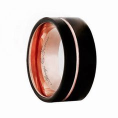 12 mm Black Rose Gold Tungsten Wedding Band, Rings The modern and stylish Tungsten jewelry with the Inside Engraving makes it special and unique for every couple. The Tungsten Carbide Band personifies a love long as eternity.  The Tungsten Carbide Band is ring designed for the special occasions, such as Wedding or Anniversary. Jewelry Rings