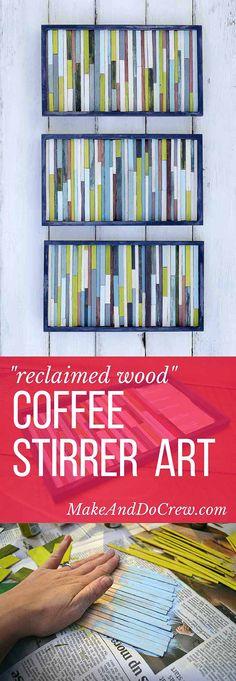 Ideas Wood Art Diy Wall Tutorials For 2019 Coffee Shops, Diy Wall Art, Diy Art, Mur Diy, Make And Do Crew, Coffee Art, Simple Art, Diy Projects To Try, Art Projects