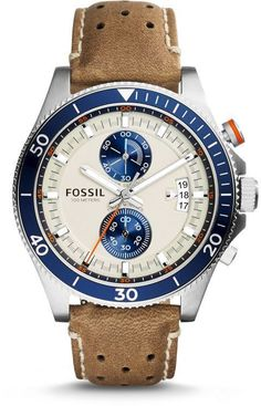 Wakefield Chronograph Leather Watch for men - Brown from Fossil #watchesformen