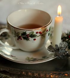 Very pretty...the little candle adds a warm and friendly touch to that cup of spiced tea on a snowy afternoon or evening. Drop a few drops of melted wax and quickly afix the candle - it will hold well if not pushed.