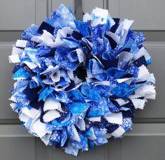 Small Blue and White Shabby Chic Winter Snowflake Fabric Wreath Rag Wreaths, Deco Mesh Wreaths, Fabric Wreath, How To Make Wreaths, Hanukkah, Snowflakes, Garland, Shabby Chic, Blue And White