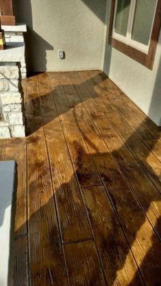 Concrete Wood Floor, Wood Stamped Concrete, Concrete Front Porch, Concrete Patio Designs, Stained Concrete, Front Porch Remodel, Wood Plank Texture, Barn House Plans, Pole Barn Homes