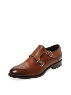 Leather Double Monkstrap by Gordon Rush Italy at Gilt