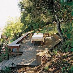 Ideas For Backyard Deck On A Hill Hillside Garden - myeasyidea sites Steep Hillside Landscaping, Sloped Backyard Landscaping, Steep Backyard, Terraced Landscaping, Landscaping On A Hill, Sloped Yard, Hillside Garden, Terrace Garden, Backyard Patio