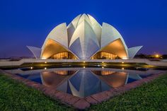 Lotus Temple(New Delhi) by Amarjeet Singh on Amarjeet Singh, Lotus Temple, Central Hall, Architecture Images, New Delhi, Pakistani, My House, The Incredibles, Exterior