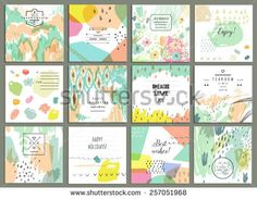 Set of 12 creative universal cards. Hand Drawn textures. Wedding, anniversary, birthday, Valentin's day, party invitations. Vector. Isolated.