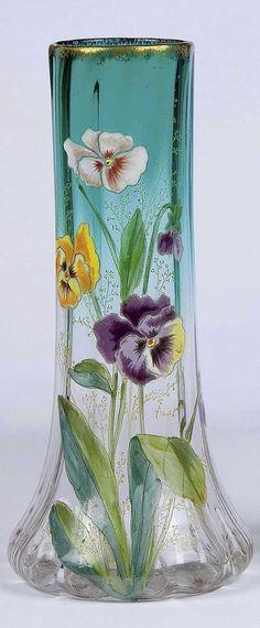 Vase Moser Karlsbad Art Deco Nouveau Viola Old