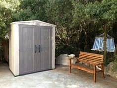 Outdoor storage sheds - The Keter Factor Shed 6x3 provides an ideal storage solution for a patio or backyard. Wide double doors allow easy access into this good height shed providing storage space for garden equipment, long handled garden tools and ladders etc. Click to read a full review of the Factor range: