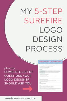 Step-by-step outline of my logo design process PLUS my downloadable Complete List of Questions Your Logo Designer Should Ask You