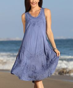 Take a look at this Slate Blue Embroidered Shift Dress today!