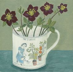 'The Florist and Hellebores' I am going to Cambridge today to deliver four new painting to @byard_art for their Christmas exhibition. The Florist mug has featured a few times in my paintings, it is one of my favourite designs to paint, I change the colour of the florists dress and the flowers on the mug to give a bit of variation. I have lots of different hellebores in my garden, I am really fond of the dark maroon ones. Wishing you all a happy Saturday.