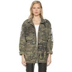 FAITH CONNEXION Graffiti Camo Print Canvas Field Jacket ($1,730) ❤ liked on Polyvore featuring outerwear, jackets, khaki camouflag, zip jacket, brown jacket, camo field jacket, drawstring jacket and military camouflage jacket