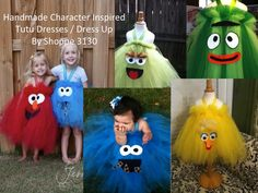 """Artist; Jennifer Elliott -  """"Sizes vary from birth to 4T, made of ribbon, tulle and wool felt - These character inspired tutus are designed to last for years for little girls. Many people use these as costumes, party dresses, parade dresses, dress up. We make several characters and sell them worldwide through our etsy and website."""""""