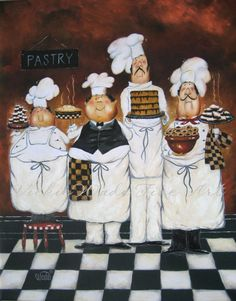 Four TALL Pastry Chefs XL Print 24X30, fat chefs, chef paintings, art, brown, kitchen art, desserts, Vickie Wade art. $65.00, via Etsy.