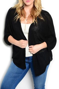 DHStyles Women's Black Plus Size Trendy Sheer Knit Open Front Cardigan Top #sexytops #clubclothes #sexydresses #fashionablesexydress #sexyshirts #sexyclothes #cocktaildresses #clubwear #cheapsexydresses #clubdresses #cheaptops #partytops #partydress #haltertops #cocktaildresses #partydresses #minidress #nightclubclothes #hotfashion #juniorsclothing #cocktaildress #glamclothing #sexytop #womensclothes #clubbingclothes #juniorsclothes #juniorclothes #trendyclothing #minidresses #sexyclothing…