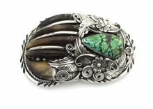Sterling Silver Genuine Turquoise Bear Claw Belt Buckle Navajo Native American Indian Jewelry Signed by DB