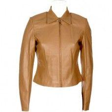 Women's Naked cowhide Tan Biker Leather Jacket