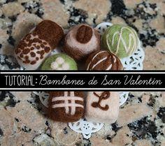 Haz tus propios bombones para San Valentín con este tutorial de needle felting. ---- Make your own chocolates with this needle felting tutorial.